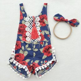 Wholesale Popular Girl Costumes - 2017 popular Baby jumpsuits Newborn tassel Baby Romper summer Girl Boy Clothes Costume Overalls floral tassel Baby Clothing