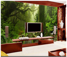 Wholesale Tree Wallpaper For Room - 3D photo wallpaper custom size mural non-woven wall Green tree landscape tropical rain forest mural wall 3D Mural wallpaper Free shipping