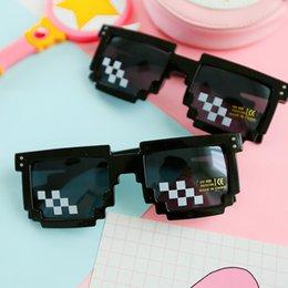 Wholesale Pixel Sunglasses Men - YJ106 custom Logo Mosaic Pixel Glasses Around Sunglasses Men Women Party Retro Second Element Sun glasses