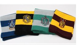 Wholesale Wholesale Polka Dot Scarf - Factory Price Harry Potter Scarf Gryffindor School Unisex Knitted Striped Scarf Gryffindor Scarve Harry Potter Hufflepuff Cosplay Scarf