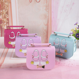 Wholesale Shoe Handbag Wholesalers - Children bag kids shoes printed handbag girls golden bows one shoulder bag kids PU leather handbags womens mini bags kids gift T3829