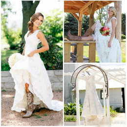 Wholesale Modest Designer Wedding Gowns - Tea Length Wedding Dresses 2018 Vintage Full Lace V Neck Cap Short Sleeves Country Western Boho Cheap Designer Modest Bridal Gowns Spring