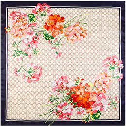 Wholesale Silk Flower Scarf Big - Wholesale-2016 Hot Sale Luxury Brand Cachecol Silk Scarf 90cm*90cm New G Big Women Flower Lady Bandana Foulard Shawl Scarves Free Shipping