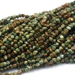 "Wholesale Green Loose Beads - Discount Wholesale Natural Green Yellow Rhyolite Jasper Nugget Loose Beads Free Form Beads Fit Jewelry 15"" 03974"