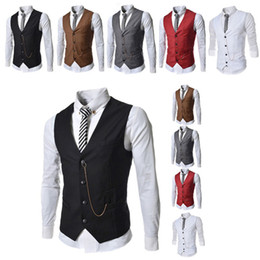 Wholesale custom waistcoats - Formal Men's Waistcoat New Arrival Fashion Groom Tuxedos Wear Bridegroom Vests Casual Slim Vest Custom Made With Chain