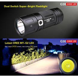Wholesale Locking Switch Led - KLARUS G30 LED Flashlight Torch CREE MT-G2 LED 2450 Lumens Dual Switch 6-mode Lock Function 18650 Battery Capacity Indicator