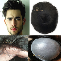 Wholesale Human Hair Toupee For Men - Stock Super Thin Base Men Toupee HairPieces 10*8inch Thin PU Skin Toupee Closure for Hair Loss Hand tied Human Hair