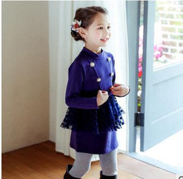 Wholesale Children Military Clothing Wholesale - Girls clothing Kids princess dresses children stand collar Beaded polka-dots splicing tulle dress fashion kids Military style clothing G0377