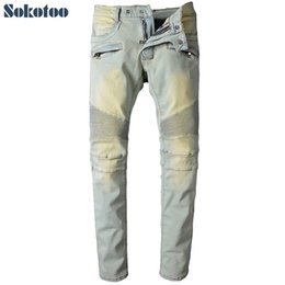 Wholesale color skinny jeans for men - Wholesale- Sokotoo Men's light color pleated biker jeans for moto Casual slim straight stretch denim pants Long trousers