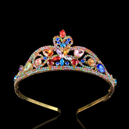 Wholesale Colorful Crowns - 2017 New Wedding Bridal Tiaras Crown Luxury Colorful Zircon Crystal Pageant Beauty Royal Crowns 18K Gold Plated Hair Jewelry Prom Gifts
