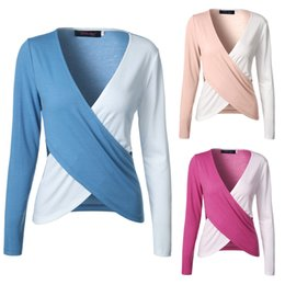 Wholesale Cross Stitch Cotton Fabric - 2017 Summer New Fashion Deep V-neck Stitching Color Sets Sexy Long-sleeved Leisure Cross Comfortable Fabric T-shirt's Tops S-2XL