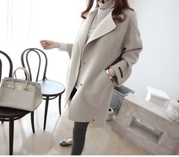 Wholesale Cm Panel - New Winter Europe average thickness pure color Type cocoon, white Gray design styleVersion to bat type long (100 cm length) v-neck