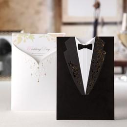 Wholesale groom bride wedding invitation card - Wholesale- 100PCS Laser Cut Wedding Invitations Printable Elegant Vintage Groom and Bride Black&White Formal Marriage Invites Cards CW2011