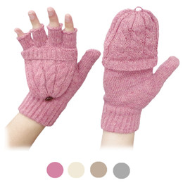Wholesale- 1Pair Solid Screen Magic Wool Gloves Women Girl Female Stretch Knit Gloves Mittens Hot Winter Warm Accessories от Поставщики красные атласные платья из кружева