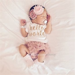 Wholesale Girl Summer Short Pant Kids - 2017 ins new baby girl hello world letter print tomper+pp pants +headband 3pcs outfits kids cotton clothes suit set for 0-2T babies KST06