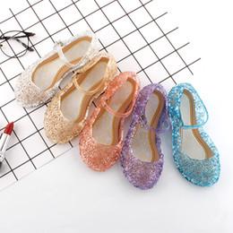 Wholesale Holes Girls Shoes - DHL 5 color New cinderella Elsa Shoes Girl Princess Shoes Blue Crystal Sandals Girls elsa Cosplay Shoes Blue PVC Hole Snowflake Sandal kids