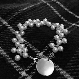 Wholesale Disk Bracelet - Handmade Bulk 8mm Pearl 25mm Disc Charm Monongrammed Bracelet Fashion Link High Quality Disk Artificial Triangle Pearl Chain Bracelet