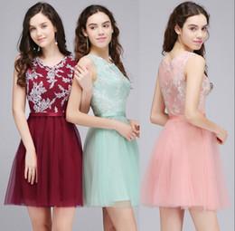 Wholesale Short Mint Homecoming Dresses - $28.99 Mint Pink Short Homecoming Dresses 2018 Cheap In Stock Lace Tulle Cocktail Party Dress Burgundy Graduation Gowns CPS710