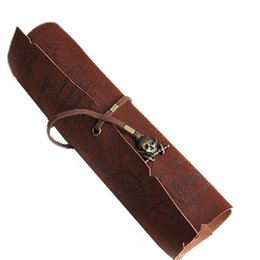 Wholesale Old Vintage Wholesale - Wholesale- Retro Vintage Pirate Roll Up PU Leather Pen Pencil Bags Treasure Map Kids Party Gift Favor Make up Cosmetic Bag School Office