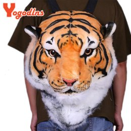 Wholesale Backpack Cooler Pocket - Wholesale- With Good Gift!2017 new Cool HUGE Luxury Tiger Head White Tiger Head style Bag Knapsack Backpack tiger bags