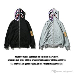 Wholesale Cotton Plus Cashmere - A ape Streetwear Sweatshirts tide brand shark mouth camouflage printing plus cashmere Hood men and Hoodie women hoodies