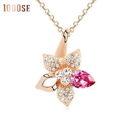 Wholesale Easter Lily Pendant - 2017 new Retro fashion pendant genuine color using SWAROVSKI Elements Crystal Necklace Lily wholesale sale