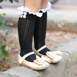 Netzspitze online-Mädchen Gestrickte Beinwärmer Net Socken Taste Häkelarbeitknit Stiefelstulpen Leggings Kinder Baby Spitzen Manschetten Socken # 50