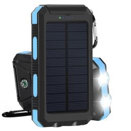 chargeur de batterie de batterie à batterie solaire Promotion Chargeur solaire portable Batterie de secours 10000mAh Batterie de secours externe Double chargeur de panneau solaire USB avec mousqueton léger 2LED