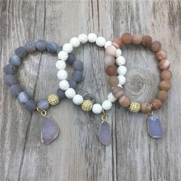 Wholesale Pyrite Bracelet - Gems Stone Beads Howlite Pyrite Beads Bracelet Neutral Agates Druzy Charm Bracelets MY1403 pulseira feminina