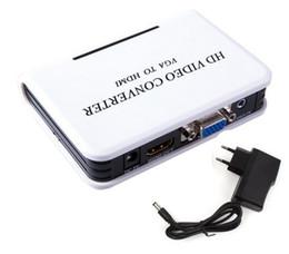 DHL Mini HD 1080P Audio VGA Ad HDMI HDTV Video Converter Box Adattatore con cavo per PC Laptop per HDTV Proiettore da