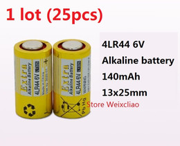 Wholesale Wholesale 6v Batteries - 25pcs 1 lot 4LR44 476A 4A76 A544 V4034PX PX28A L1325 6V dry alkaline battery 6 Volt Batteries Free Shipping