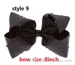 Wholesale Toddler Girl Large Hair Bows - 9 style ! 8inch LARGE BLACK WITH RHINESTONES BOW jojo hair bow Alligator clip for girls toddler Sparkle Bows Cheer Ombre bow 25pcs
