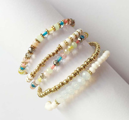 Wholesale Delicate Leaf - Rainbow Glass Bracelet Set Multi Colour Beads Opal And Aqua Beads With Cast Leaf Delicate Casting Beads String Bracelet Set