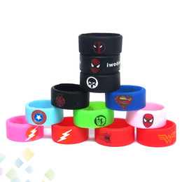 Wholesale Rubbers Bands - Vape Band Silicone Rings with Superman Flash Captain America Logo Colorful Rubber Rings fit RDA RTA Atomizer Mods DHL Free
