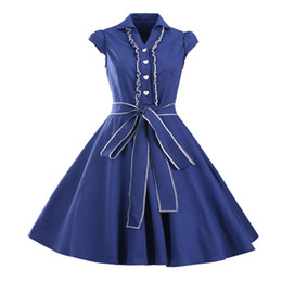 Wholesale Women Dress Skirt Wind - 2017 new European and American retro Heben wind dress European station solid color V collar in the waist Peng Peng skirt large skirt