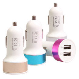 Wholesale 5v 1a Usb Adaptor - Car USB Charger Aluminum Cycle 5V 1A 2 USB Dual port Car Adaptor Color gift box packing free shiipping