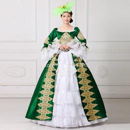 Wholesale Marie Antoinette Dresses - Robe De Soiree 2017 Green Square Collar Long Flare Sleeve Gold Appliques Back Zipper Floor-Length Marie Antoinette Dresses