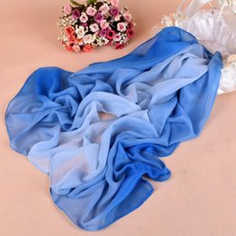 Wholesale Scarf 18 - Wholesale fashion chiffon long scarves cheap women's elegant temperament gradual color scarves 18 color can choose DHL free shipping