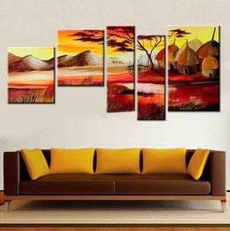 pintura a óleo abstrata paisagem africana Desconto Modern 5 pçs / set Pintados À Mão pintura a óleo sobre tela abstrato tribo africano vida paisagem imagem na decoração da parede