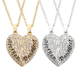 Wholesale Best Forever - GEMIN Mother Mom Daughter Best Friends Forever BFF Heart Pendant Necklace Engraved Letters Gift for Mother's Day
