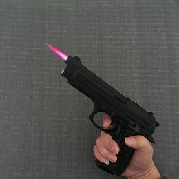 Pistolas más ligeras online-Pistola de metal grande M9 Modelo militar Pistola Metal encendedor a prueba de viento 1: 1 Pistola de metal tipo revólver Más ligero ..