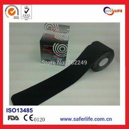 Wholesale Kinesio Tape Waterproof - Safelife 50pcs lot waterproof medical blue black strength pre-cut sports kinesio tape kinesiology tape