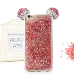 Wholesale Iphone Cover Minnie - Glitter Stars Dynamic Liquid Quicksand Mickey Minnie Mouse Ears Soft TPU Phone Back Cover Case For iPhone 6 6S Plus 7 7 Plus