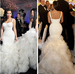 Wholesale Mermaid Dresses Cheap - Gorgeous 2017 Kim Kardashian Wedding Dresses with Ruffles Tiers Strapless Sexy Mermaid Wedding Bride Gowns Chapel Train Cheap