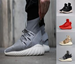 Wholesale Mens Outdoor Socks - 2016 New Arrivals Mens Running Shoes Black Red Fashion Boots KITH X Consortium Tubular Doom PK city sock Outdoor Sport Sneakers Eur 40-45