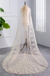 Wholesale Real Trim - 2018 New Real Champagne Long Cathedral Bridal Veil 1 Single Layer Sequins Lace Trim Cathedral Wedding Veil With Comb HL59