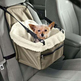 Wholesale Pet Lines - Pet Booster Seat Deluxe Dog Booster Car Seat Safety Belt Tether Sheepskin Lining Folding Travel Doggy Car Seat