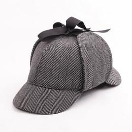 Wholesale Strip Caps - Hot selling Sherlock Holmes Detective Baseball Hat Vintage Deerstalker Unisex Cap Two Brims Strip Big Small Size Earflap Hat Cap