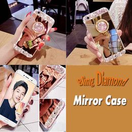 Wholesale Handmade Phone Cases - Luxury Handmade Bling Diamond Crystal Holder Case With Stand Kickstand Mirror Phone Case For iPhone 7 Plus 6 6S 5S 5 Samsung S8 Plus S7 Edge