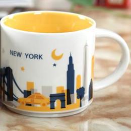 Starbucks café xícara cerâmica on-line-14 oz Capacidade de Cerâmica Starbucks Cidade Caneca Americana Cidades Melhor Caneca de Café Copo com Caixa Original New York City